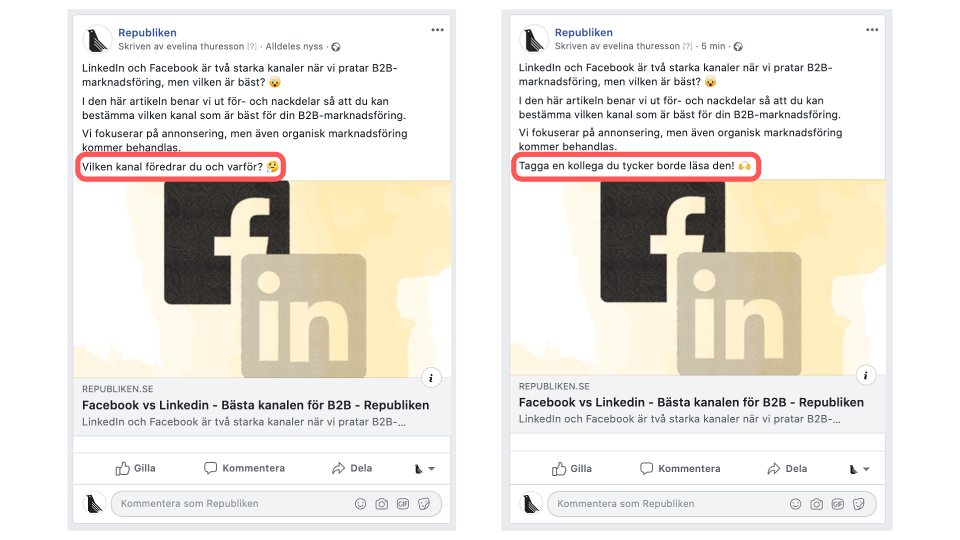 Exempel på inlägg för sociala medier